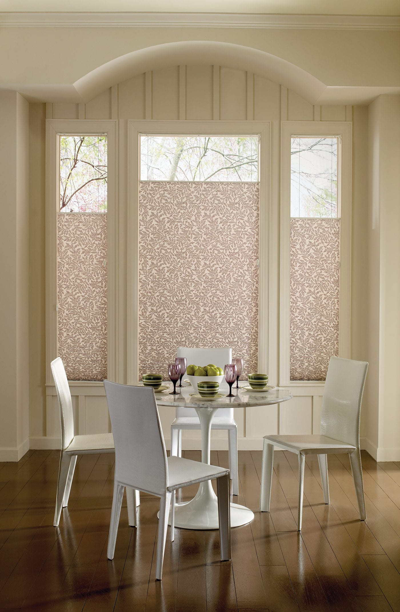 Botanicals Dining Room with Pleated Shades