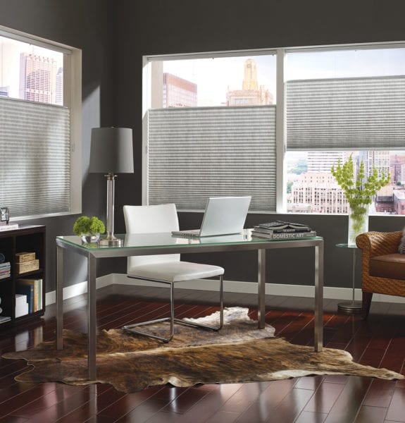 Herringbone Office with Pleated Shades