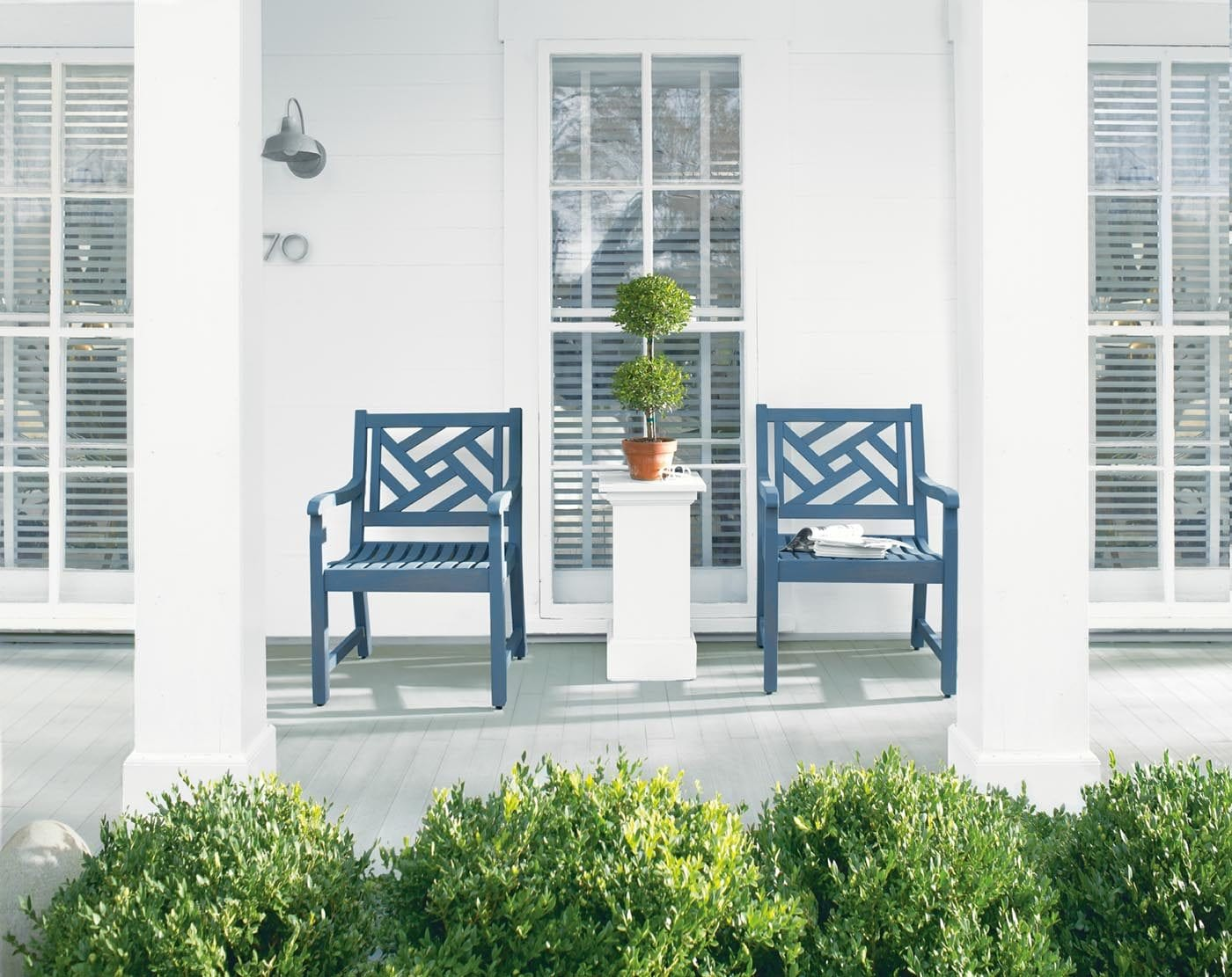 White Porch with Blue Chairs